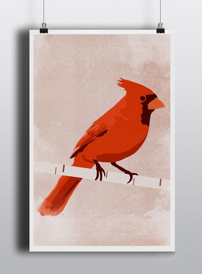 Life lurking cardinal poster