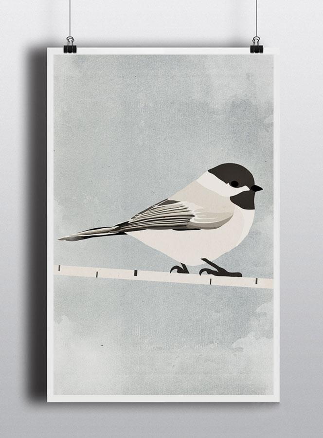 Life lurking chickadee poster