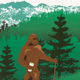 Poster Design by Life Lurking Seattle Where Bigfoot Gets His Brew