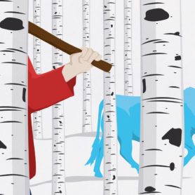 Life Lurking Poster Paul Bunyan and Babe The Blue Ox Birch Trees